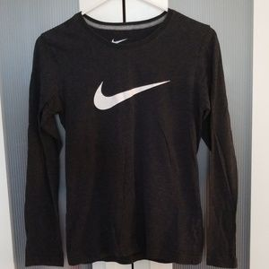 Nike Women's Long Sleeve Shirt Grey/ Black Medium